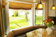 kitchen faux leather window seat cushions with gold chenille bolsters