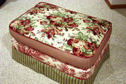 shabby chic ottoman in floral, stripes and toile