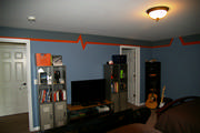 boys room painting in blue, grey and orange
