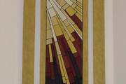 Stained glass inspired fabric banners for a church sanctuary